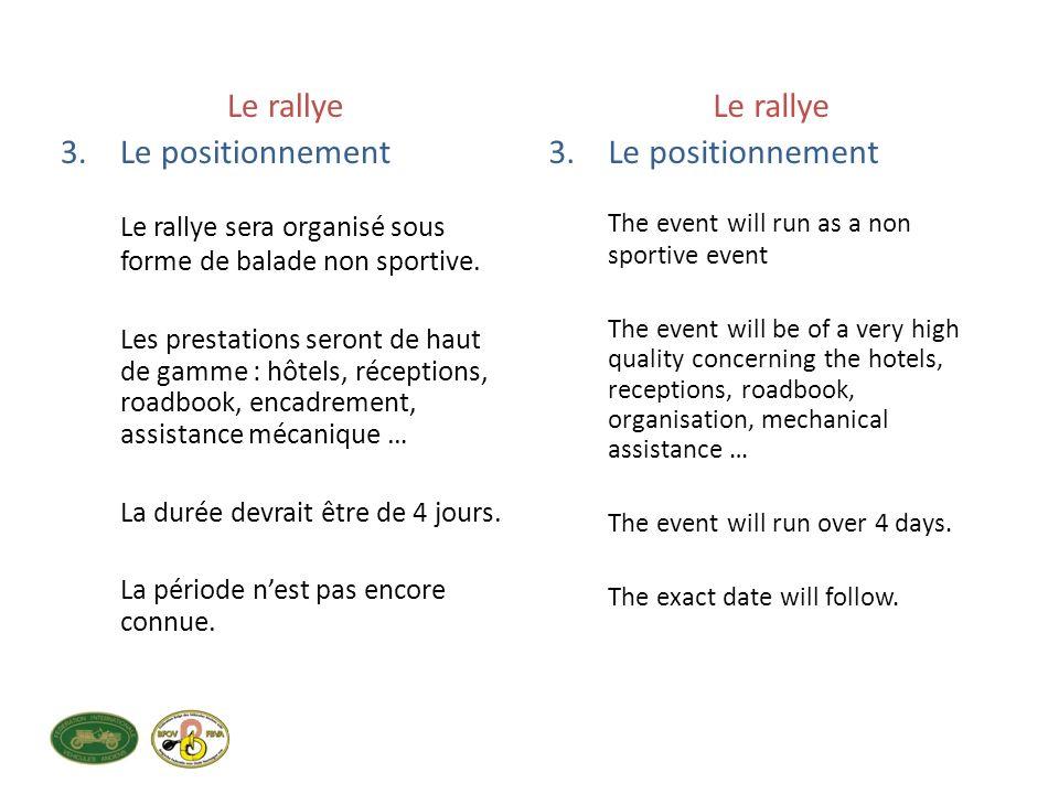 Le rallye 3.Le positionnement Le rallye sera organisé sous forme de balade non sportive.