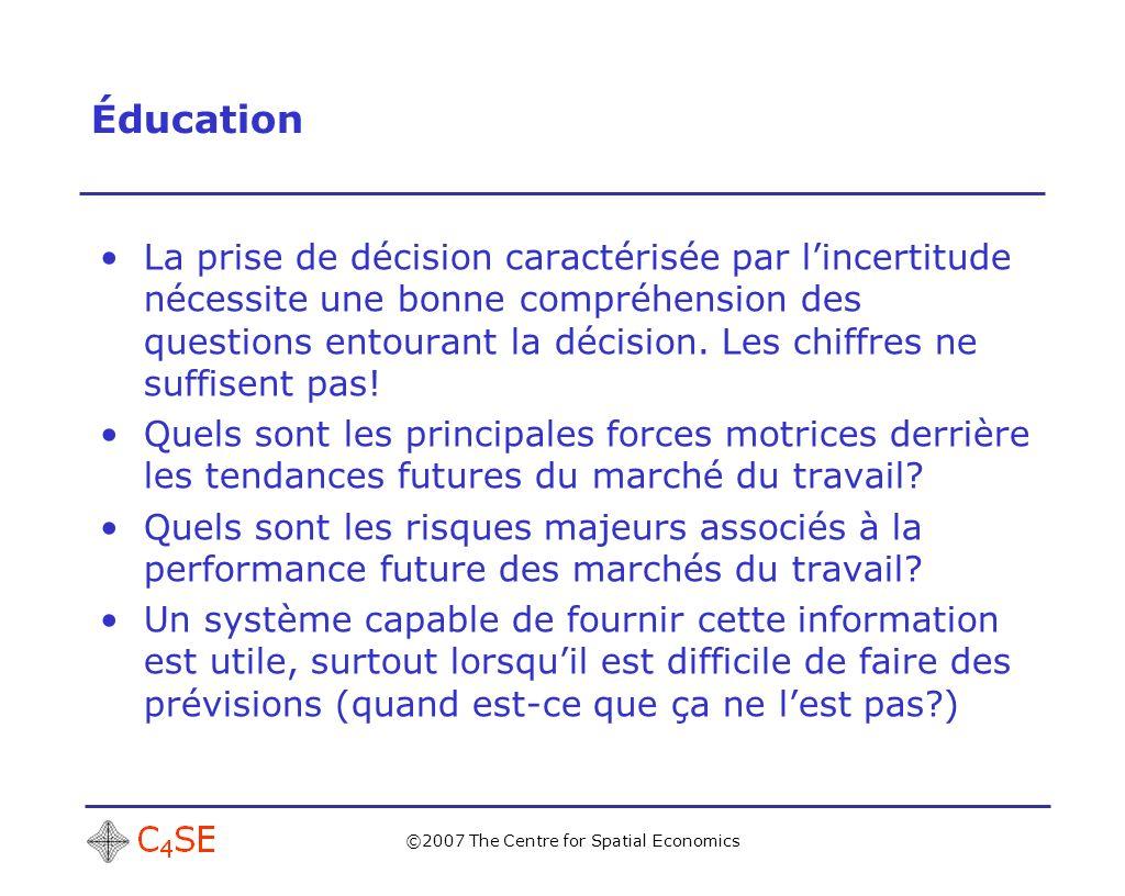 ©2007 The Centre for Spatial Economics Éducation La prise de décision caractérisée par lincertitude nécessite une bonne compréhension des questions entourant la décision.