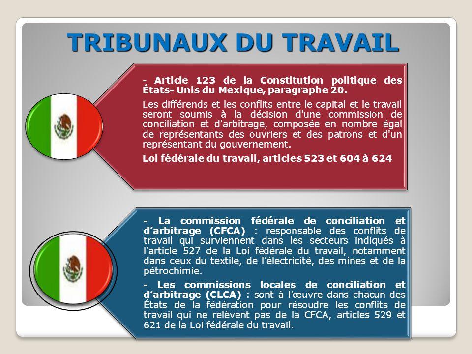TRIBUNAUX DU TRAVAIL - Article 123 de la Constitution politique des États- Unis du Mexique, paragraphe 20.