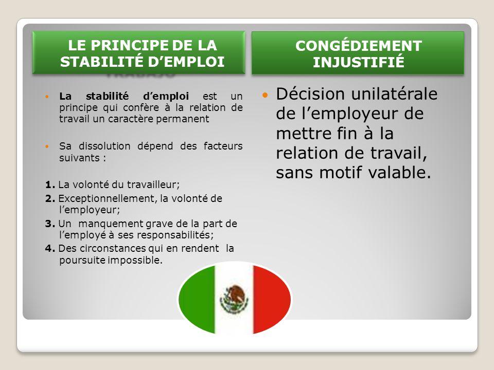 LE PRINCIPE DE LA STABILITÉ DEMPLOI La stabilité demploi est un principe qui confère à la relation de travail un caractère permanent Sa dissolution dépend des facteurs suivants : 1.