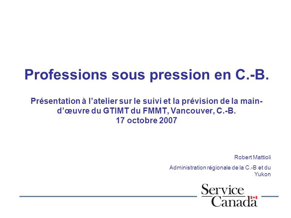 Professions sous pression en C.-B.
