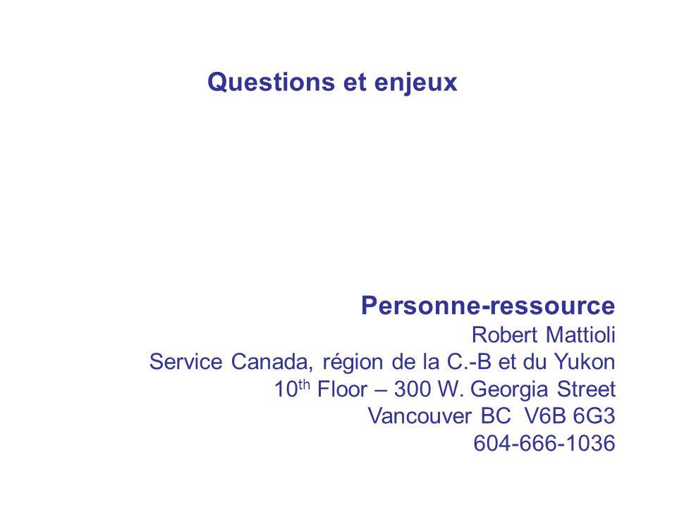 Personne-ressource Robert Mattioli Service Canada, région de la C.-B et du Yukon 10 th Floor – 300 W.
