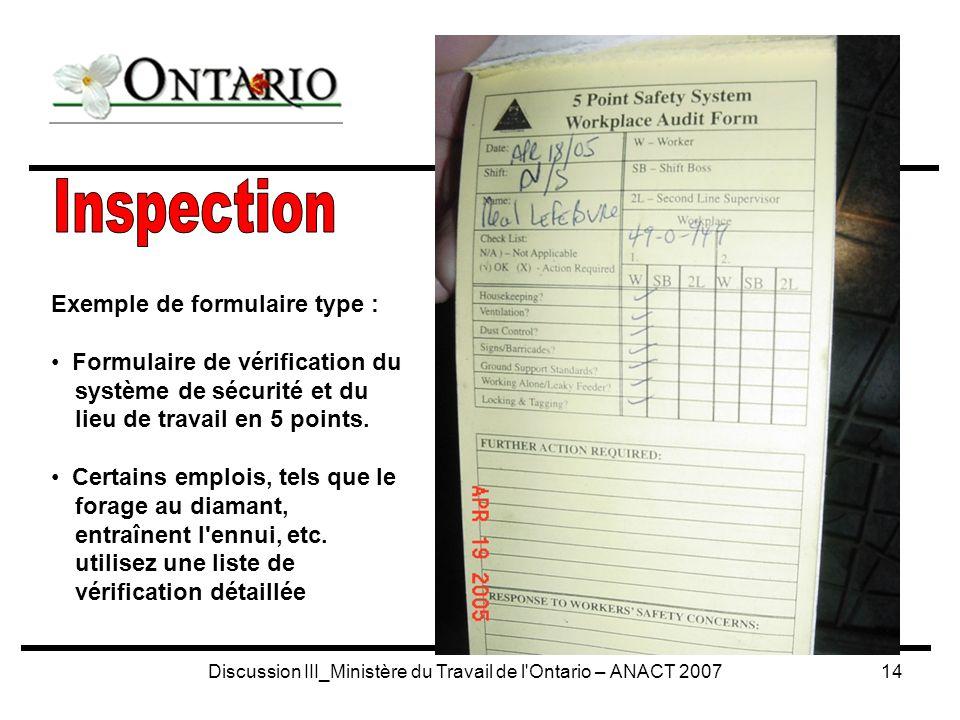Discussion III_Ministère du Travail de l Ontario – ANACT 200714 Exemple de formulaire type : Formulaire de vérification du système de sécurité et du lieu de travail en 5 points.