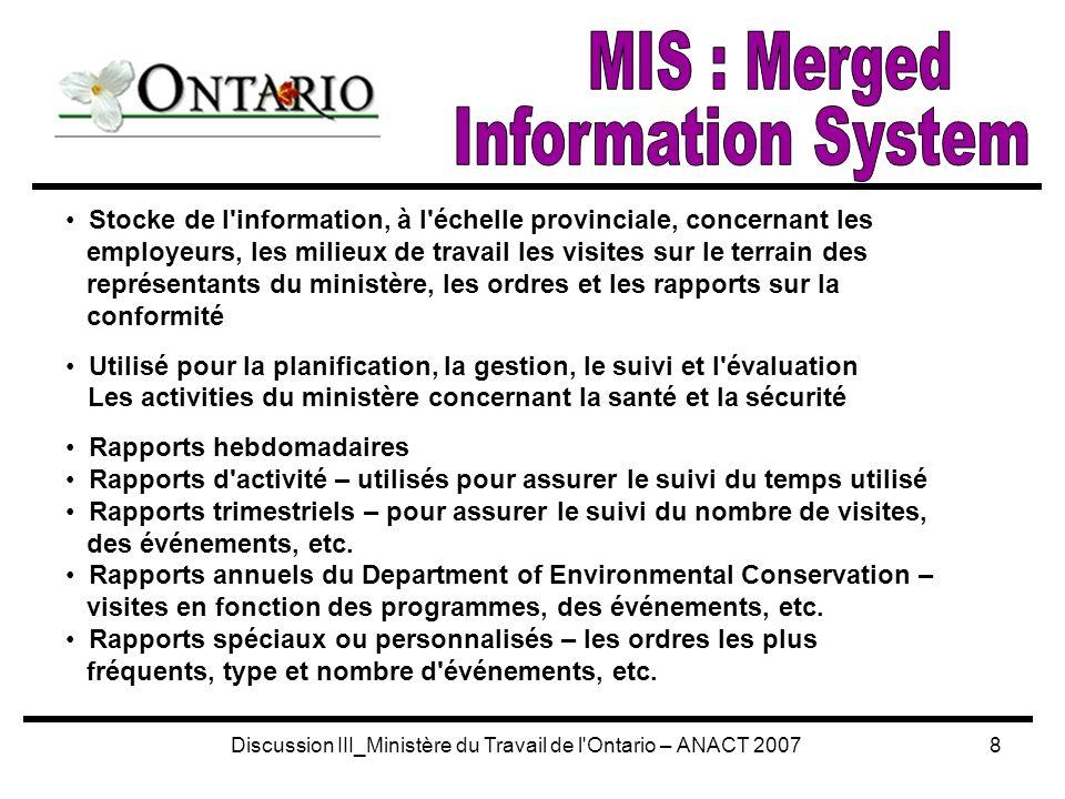 Discussion III_Ministère du Travail de l Ontario – ANACT 200719 Première page du Rapport de visite sur le terrain enregistré sur l ordinateur portatif Information affichée : l information requise le premier ordre donné et la date d échéance de l exécution