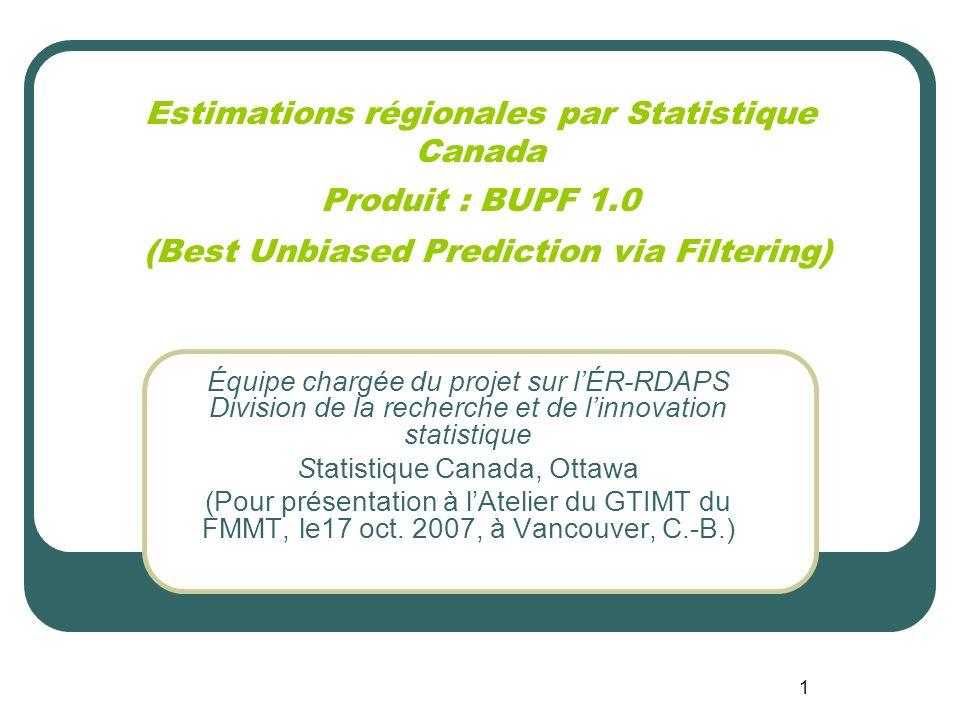 1 Équipe chargée du projet sur lÉR-RDAPS Division de la recherche et de linnovation statistique Statistique Canada, Ottawa (Pour présentation à lAtelier du GTIMT du FMMT, le17 oct.