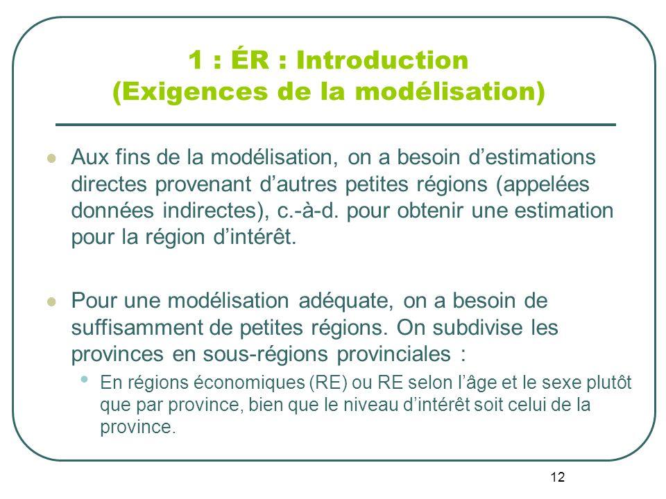 12 1 : ÉR : Introduction (Exigences de la modélisation) Aux fins de la modélisation, on a besoin destimations directes provenant dautres petites régions (appelées données indirectes), c.-à-d.