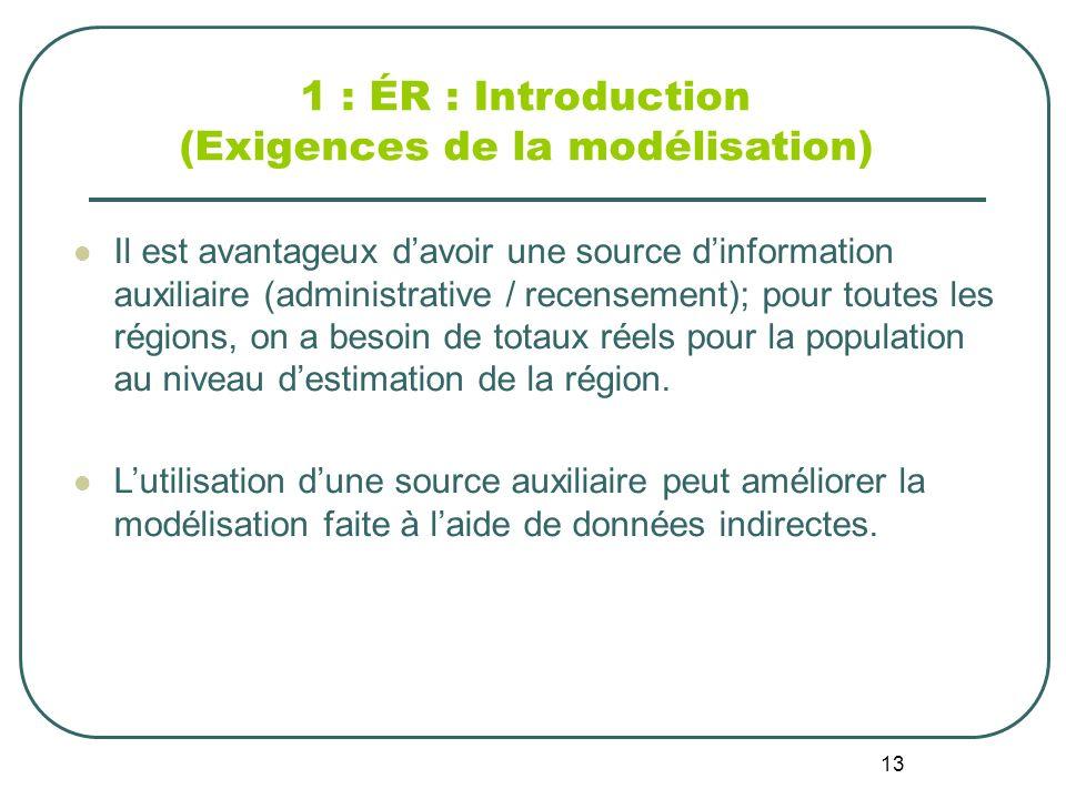 13 1 : ÉR : Introduction (Exigences de la modélisation) Il est avantageux davoir une source dinformation auxiliaire (administrative / recensement); pour toutes les régions, on a besoin de totaux réels pour la population au niveau destimation de la région.