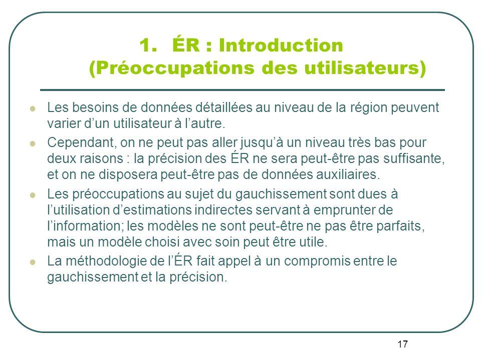 17 1.ÉR : Introduction (Préoccupations des utilisateurs) Les besoins de données détaillées au niveau de la région peuvent varier dun utilisateur à lautre.