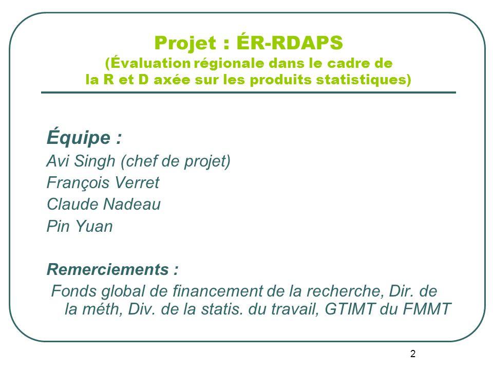 2 Projet : ÉR-RDAPS (Évaluation régionale dans le cadre de la R et D axée sur les produits statistiques) Équipe : Avi Singh (chef de projet) François Verret Claude Nadeau Pin Yuan Remerciements : Fonds global de financement de la recherche, Dir.