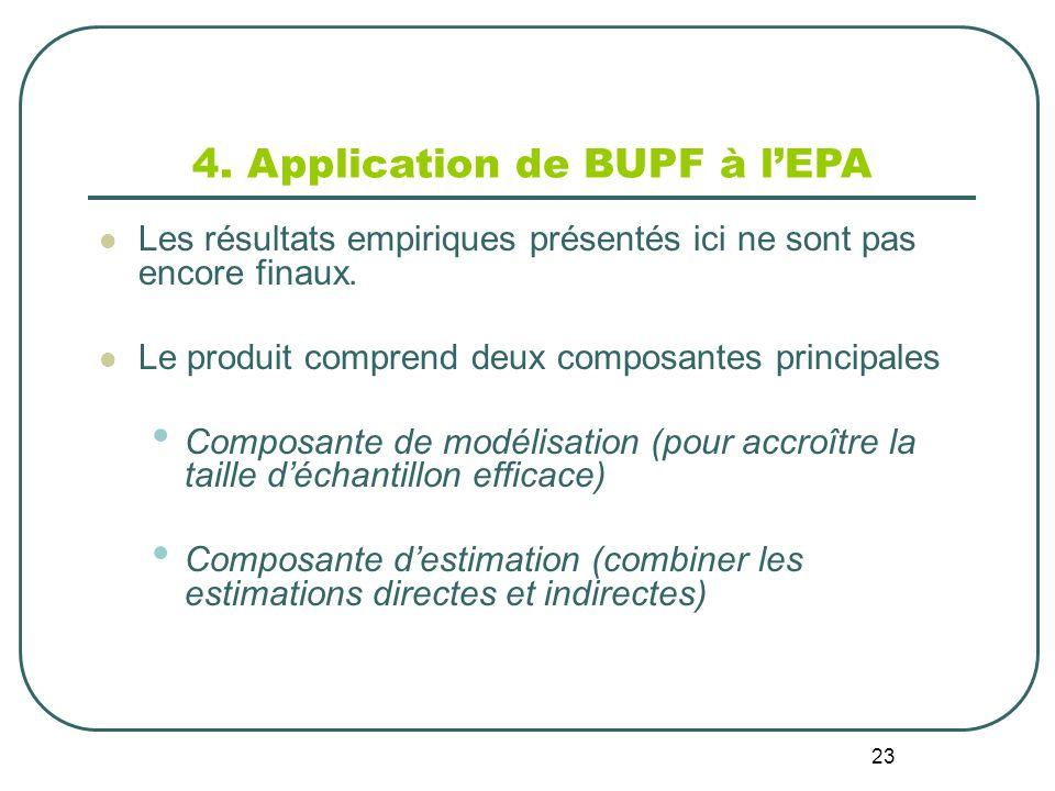 23 4. Application de BUPF à lEPA Les résultats empiriques présentés ici ne sont pas encore finaux.