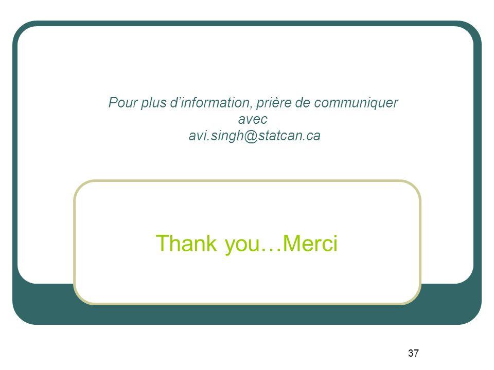 37 Pour plus dinformation, prière de communiquer avec avi.singh@statcan.ca Thank you…Merci