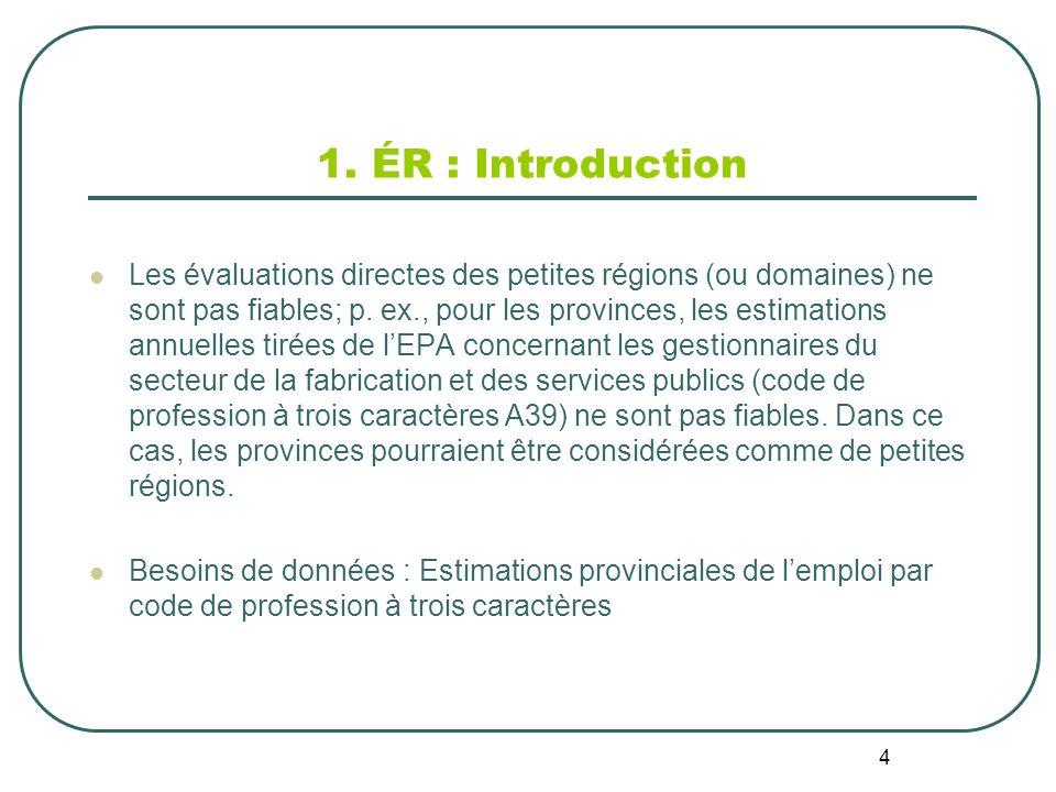 4 1. ÉR : Introduction Les évaluations directes des petites régions (ou domaines) ne sont pas fiables; p. ex., pour les provinces, les estimations ann