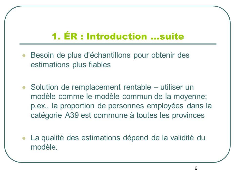 6 1. ÉR : Introduction …suite Besoin de plus déchantillons pour obtenir des estimations plus fiables Solution de remplacement rentable – utiliser un m