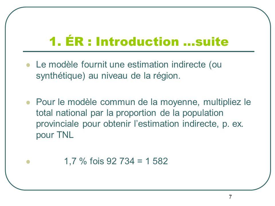 7 1. ÉR : Introduction …suite Le modèle fournit une estimation indirecte (ou synthétique) au niveau de la région. Pour le modèle commun de la moyenne,