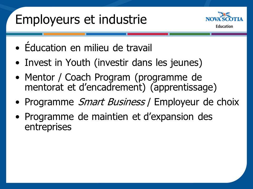 Employeurs et industrie Éducation en milieu de travail Invest in Youth (investir dans les jeunes) Mentor / Coach Program (programme de mentorat et dencadrement) (apprentissage) Programme Smart Business / Employeur de choix Programme de maintien et dexpansion des entreprises