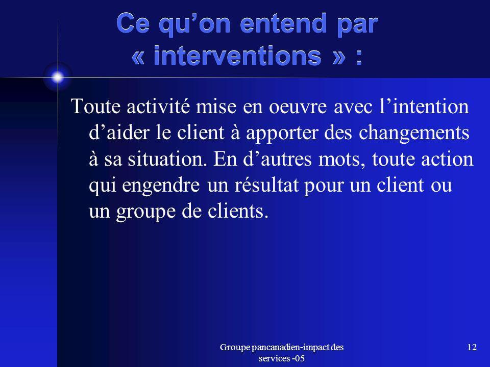 Groupe pancanadien-impact des services -05 12 Ce quon entend par « interventions » : Toute activité mise en oeuvre avec lintention daider le client à apporter des changements à sa situation.