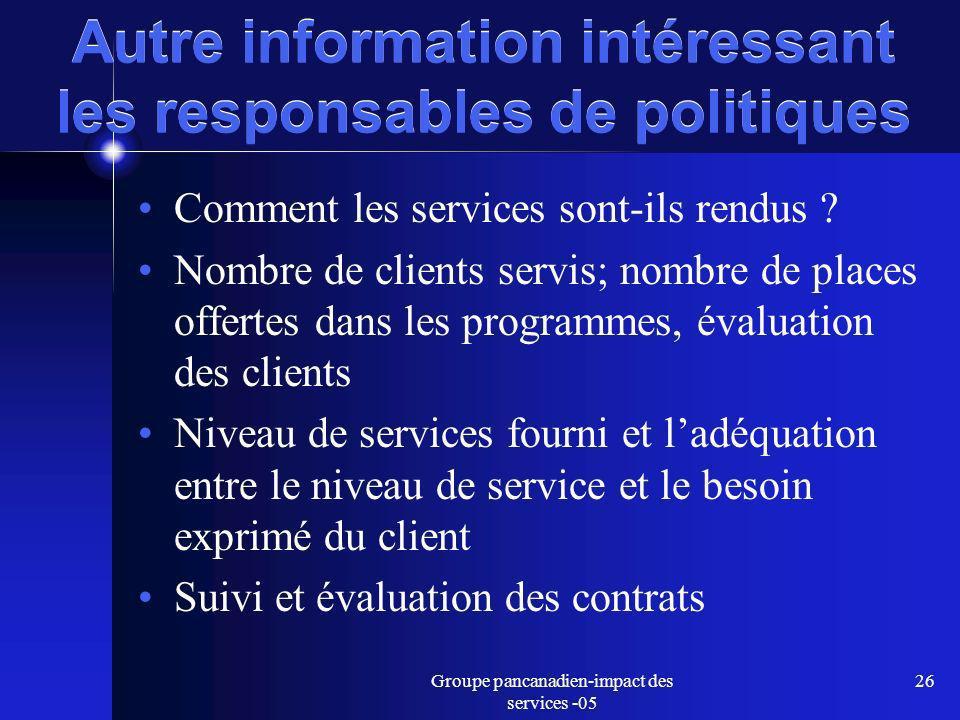 Groupe pancanadien-impact des services -05 26 Autre information intéressant les responsables de politiques Comment les services sont-ils rendus .