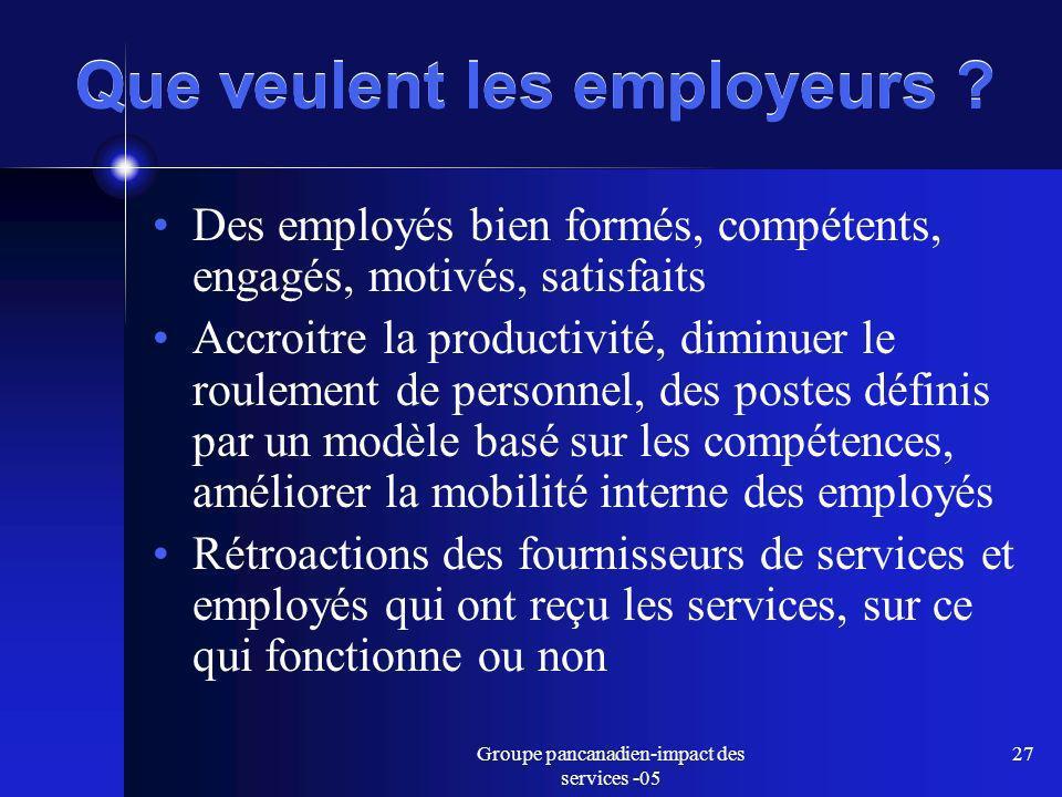 Groupe pancanadien-impact des services -05 27 Que veulent les employeurs .
