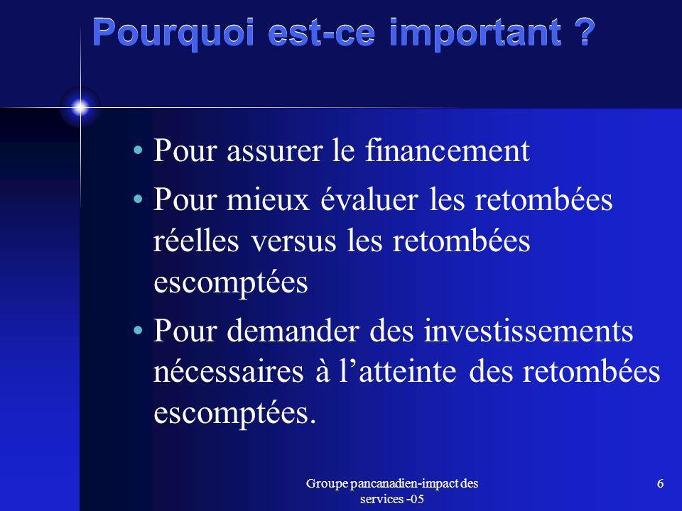 Groupe pancanadien-impact des services -05 6 Pourquoi est-ce important .