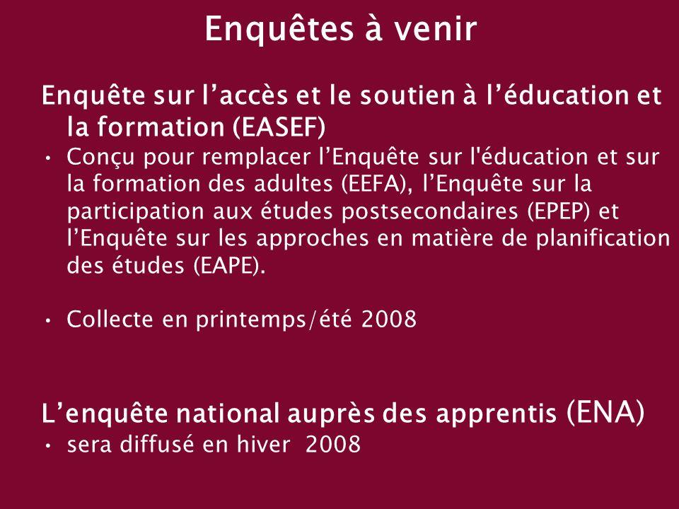 Enquêtes à venir Enquête sur laccès et le soutien à léducation et la formation (EASEF) Conçu pour remplacer lEnquête sur l éducation et sur la formation des adultes (EEFA), lEnquête sur la participation aux études postsecondaires (EPEP) et lEnquête sur les approches en matière de planification des études (EAPE).