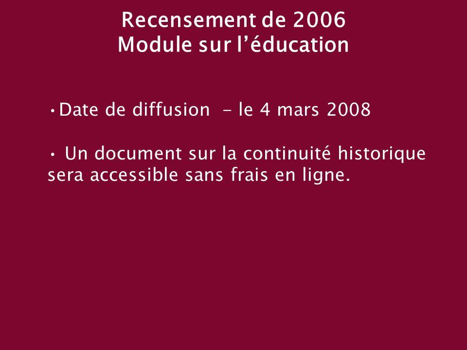 Date de diffusion - le 4 mars 2008 Un document sur la continuité historique sera accessible sans frais en ligne.