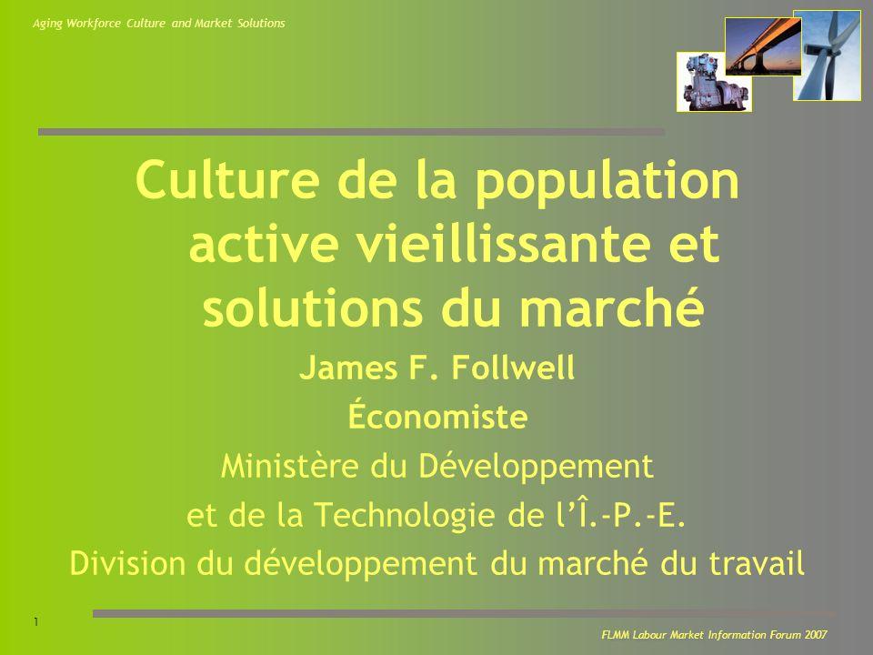 Aging Workforce Culture and Market Solutions 2 FLMM Labour Market Information Forum 2007 Les opinions exprimées dans cette présentation sont celles de lauteur et ne reflètent pas nécessairement les politiques et les opinions du gouvernement de lÎle-du-Prince-Edouard