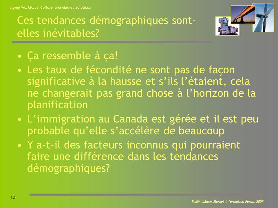 Aging Workforce Culture and Market Solutions 12 FLMM Labour Market Information Forum 2007 Ces tendances démographiques sont- elles inévitables.