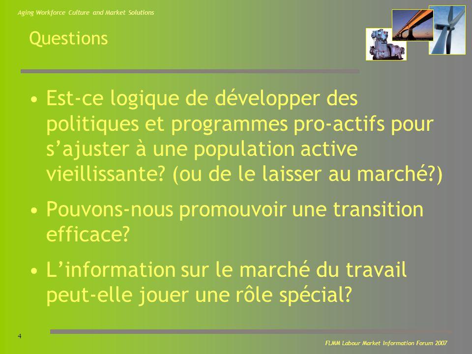 Aging Workforce Culture and Market Solutions 15 FLMM Labour Market Information Forum 2007 Les travailleurs âgés – Les connaissons-nous vraiment.
