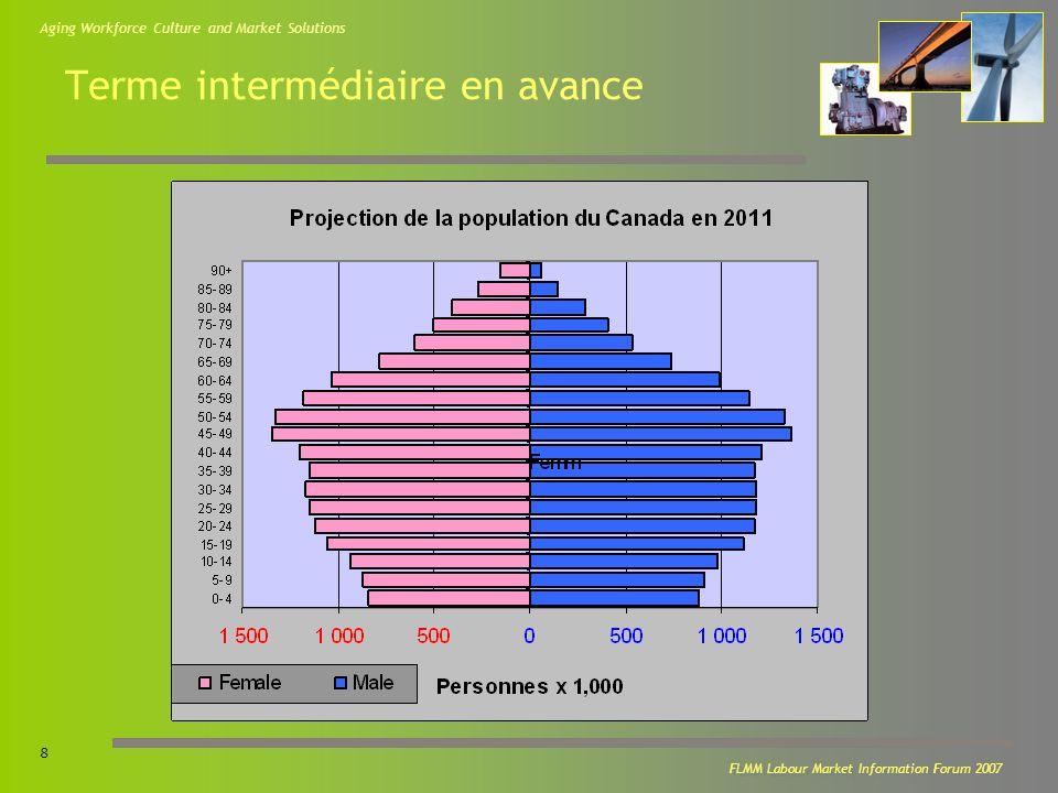 Aging Workforce Culture and Market Solutions 9 FLMM Labour Market Information Forum 2007 Population de lIPE et Projections Source : Statistique Canada, Projections de la population du Canada, des Provinces et des Territoires 2005-2031 Cat.