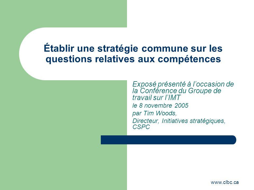 www.clbc.ca Établir une stratégie commune sur les questions relatives aux compétences Exposé présenté à loccasion de la Conférence du Groupe de travai