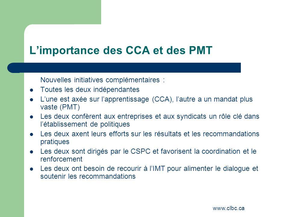 www.clbc.ca Limportance des CCA et des PMT Nouvelles initiatives complémentaires : Toutes les deux indépendantes Lune est axée sur lapprentissage (CCA