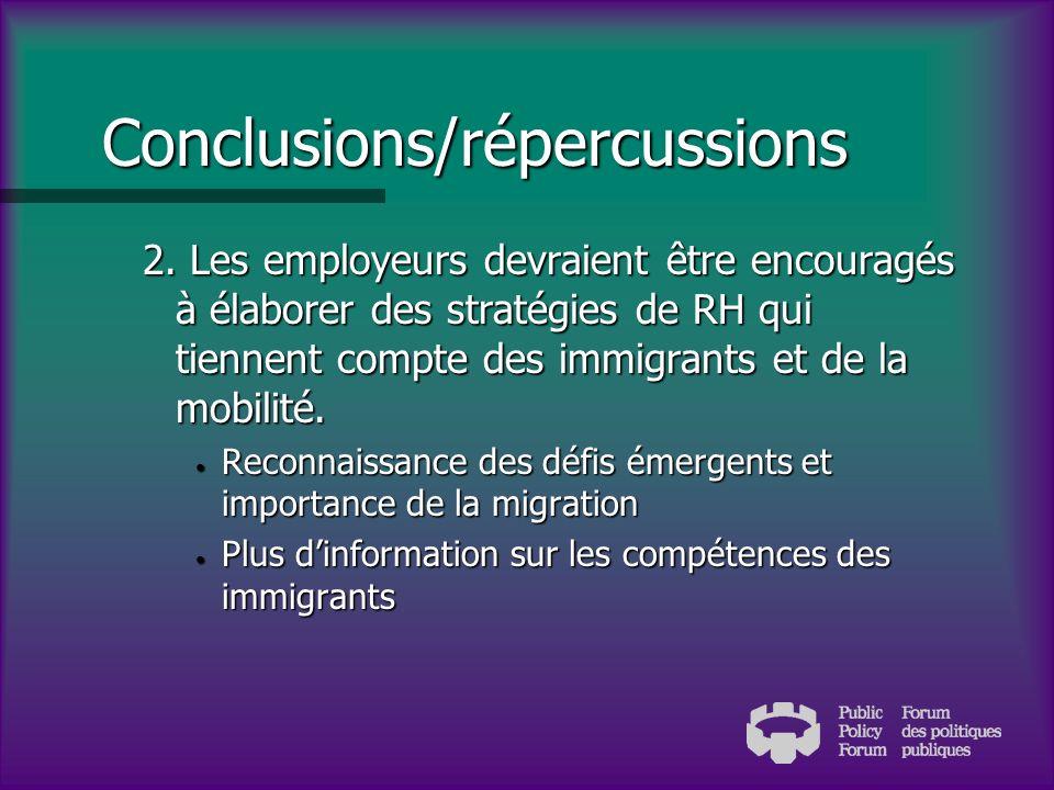 Conclusions/répercussions 1. Il faut compter sur lengagement des employeurs.