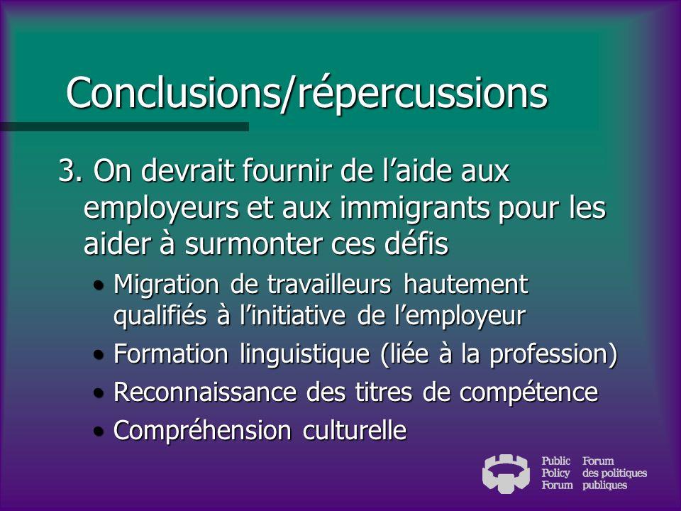Conclusions/répercussions 2.
