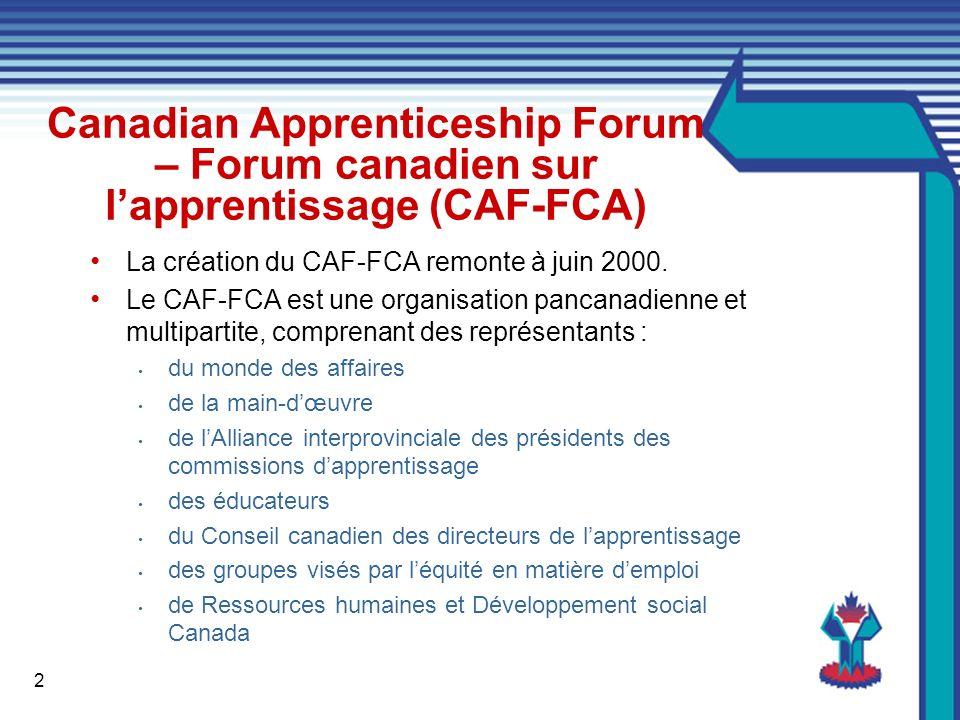 2 Canadian Apprenticeship Forum – Forum canadien sur lapprentissage (CAF-FCA) La création du CAF-FCA remonte à juin 2000.