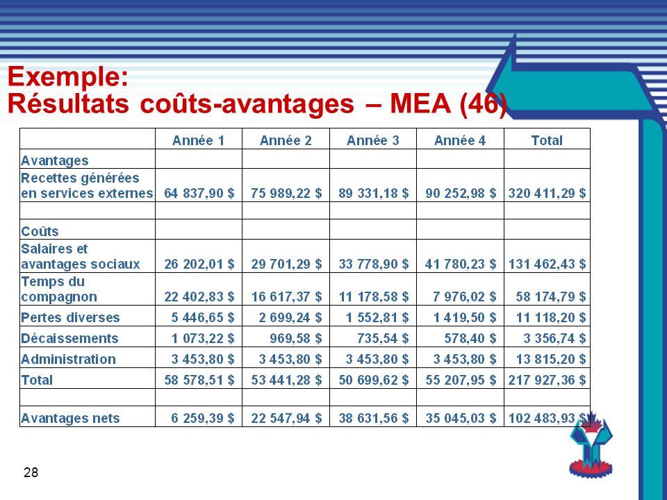 28 Exemple: Résultats coûts-avantages – MEA (46)