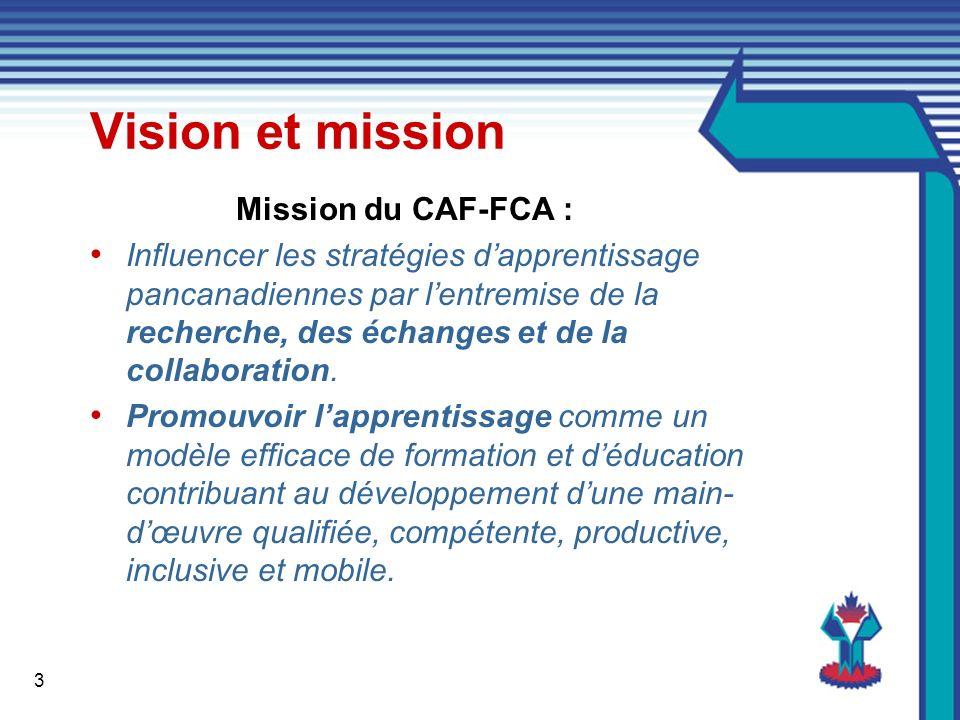 3 Vision et mission Mission du CAF-FCA : Influencer les stratégies dapprentissage pancanadiennes par lentremise de la recherche, des échanges et de la collaboration.