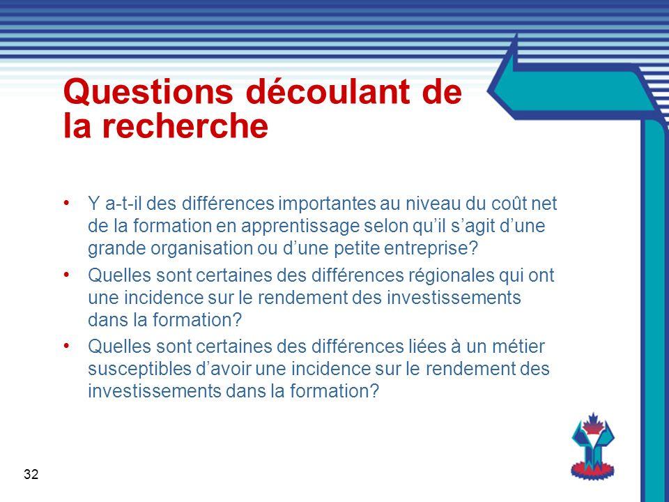 32 Questions découlant de la recherche Y a-t-il des différences importantes au niveau du coût net de la formation en apprentissage selon quil sagit dune grande organisation ou dune petite entreprise.