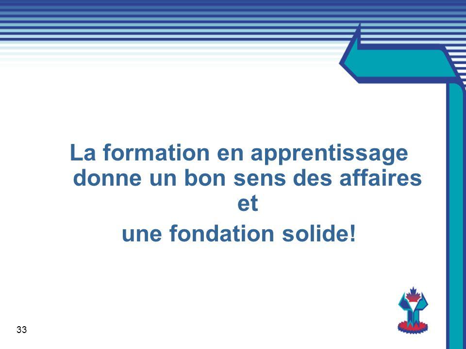 33 La formation en apprentissage donne un bon sens des affaires et une fondation solide!