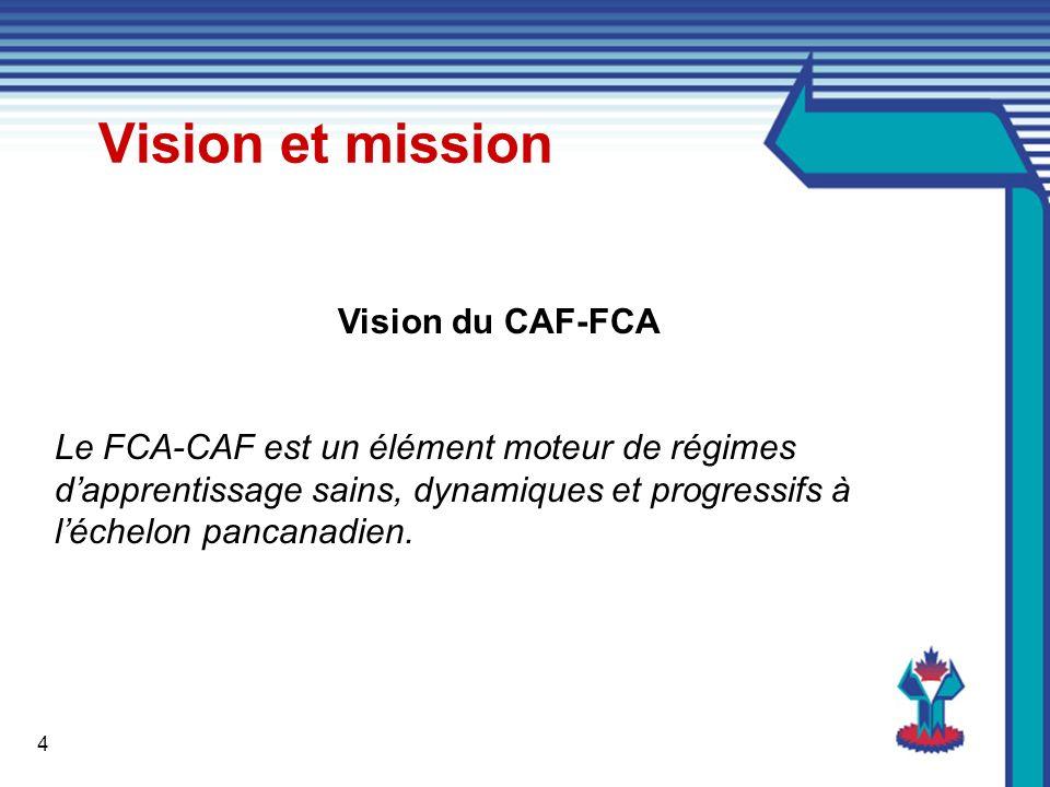 4 Vision du CAF-FCA Le FCA-CAF est un élément moteur de régimes dapprentissage sains, dynamiques et progressifs à léchelon pancanadien.
