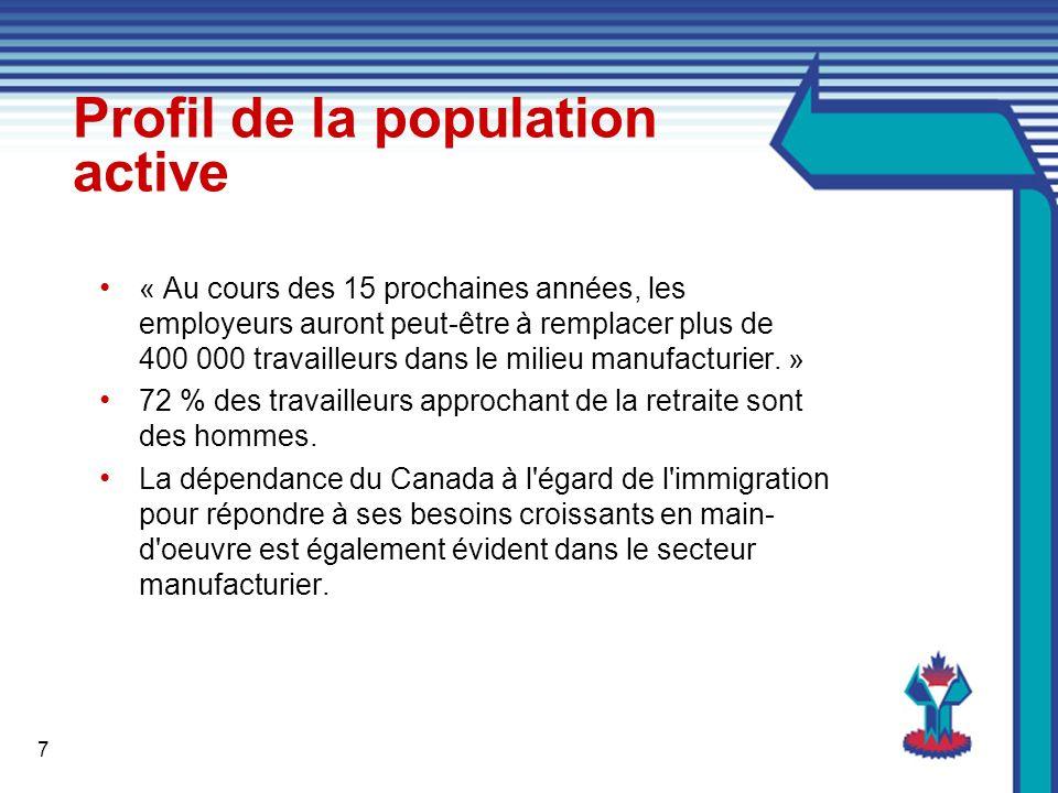 7 Profil de la population active « Au cours des 15 prochaines années, les employeurs auront peut-être à remplacer plus de 400 000 travailleurs dans le milieu manufacturier.