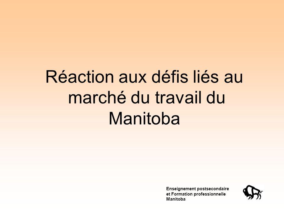 Enseignement postsecondaire et Formation professionnelle Manitoba Réaction aux défis liés au marché du travail du Manitoba
