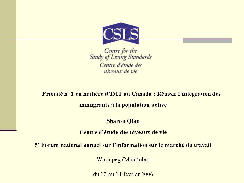 Priorité n o 1 en matière dIMT au Canada : Réussir lintégration des immigrants à la population active Sharon Qiao Centre détude des niveaux de vie 5 e Forum national annuel sur linformation sur le marché du travail Winnipeg (Manitoba) du 12 au 14 février 2006.