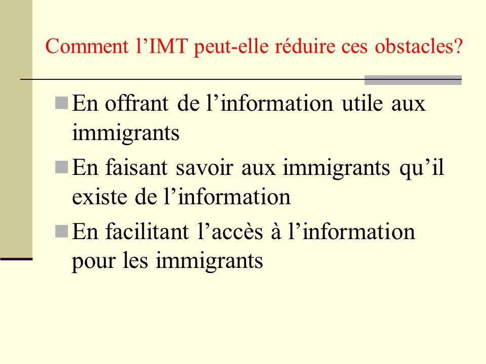 Comment lIMT peut-elle réduire ces obstacles? En offrant de linformation utile aux immigrants En faisant savoir aux immigrants quil existe de linforma