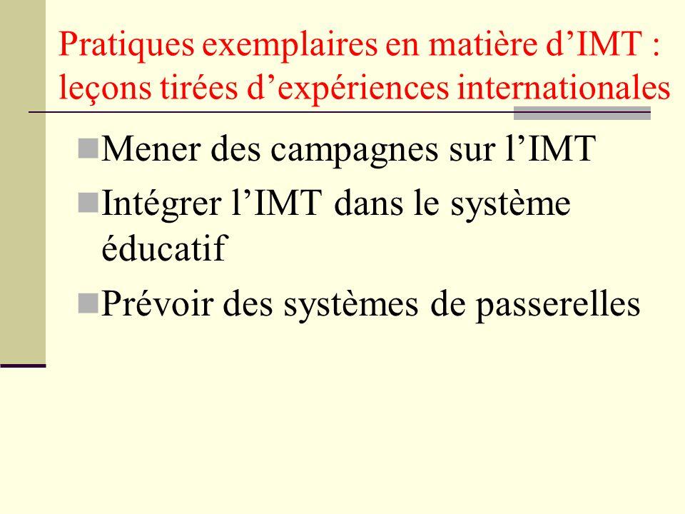 Pratiques exemplaires en matière dIMT : leçons tirées dexpériences internationales Mener des campagnes sur lIMT Intégrer lIMT dans le système éducatif Prévoir des systèmes de passerelles