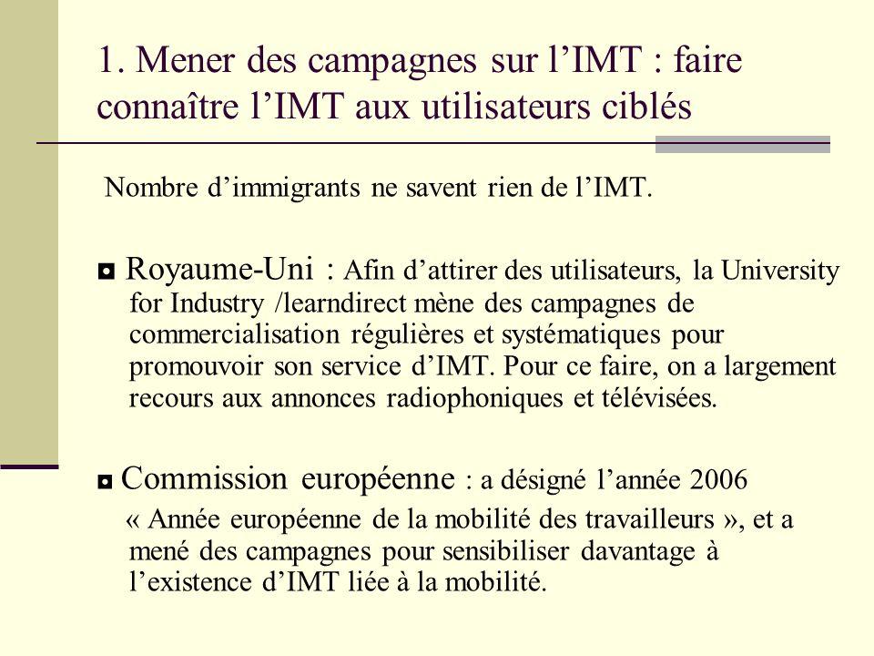 1. Mener des campagnes sur lIMT : faire connaître lIMT aux utilisateurs ciblés Nombre dimmigrants ne savent rien de lIMT. Royaume-Uni : Afin dattirer
