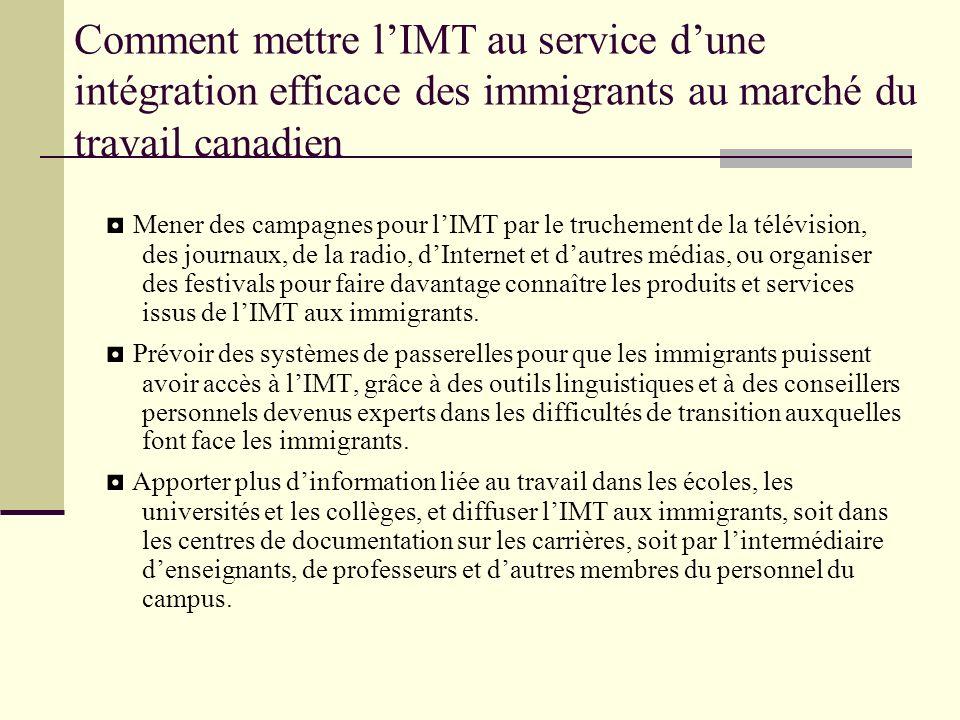 Comment mettre lIMT au service dune intégration efficace des immigrants au marché du travail canadien Mener des campagnes pour lIMT par le truchement