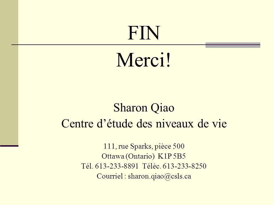 FIN Merci! Sharon Qiao Centre détude des niveaux de vie 111, rue Sparks, pièce 500 Ottawa (Ontario) K1P 5B5 Tél. 613-233-8891 Téléc. 613-233-8250 Cour