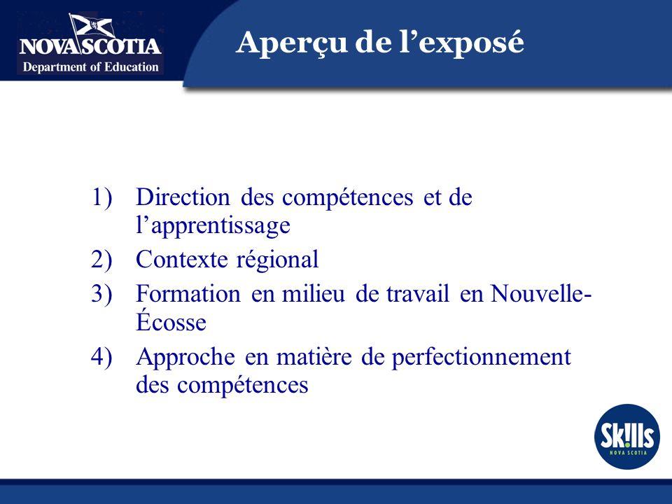 1)Direction des compétences et de lapprentissage 2)Contexte régional 3)Formation en milieu de travail en Nouvelle- Écosse 4)Approche en matière de perfectionnement des compétences Aperçu de lexposé