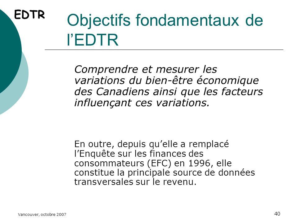 Vancouver, octobre 2007 40 Objectifs fondamentaux de lEDTR Comprendre et mesurer les variations du bien-être économique des Canadiens ainsi que les facteurs influençant ces variations.