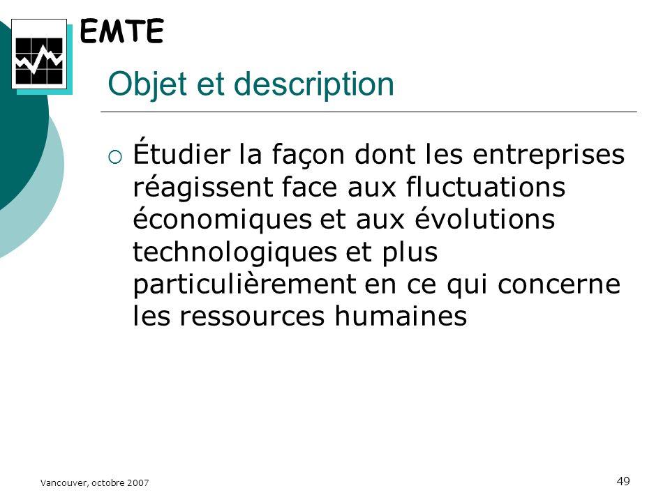Vancouver, octobre 2007 49 Objet et description Étudier la façon dont les entreprises réagissent face aux fluctuations économiques et aux évolutions technologiques et plus particulièrement en ce qui concerne les ressources humaines EMTE